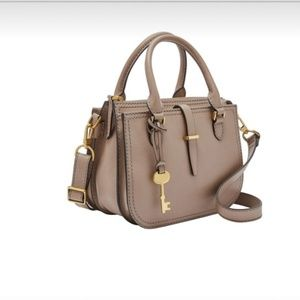 NWT Fossil Leather Ryder Mini Light Taupe Satchel